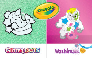 Multimedia Designer: design tot HTML(5) tot video - crayola washimals glitterdots 1